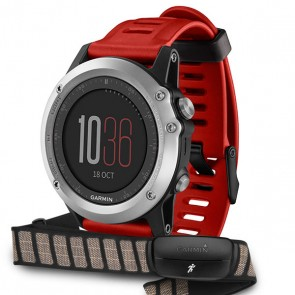 Red Garmin Fenix 3 with HRM