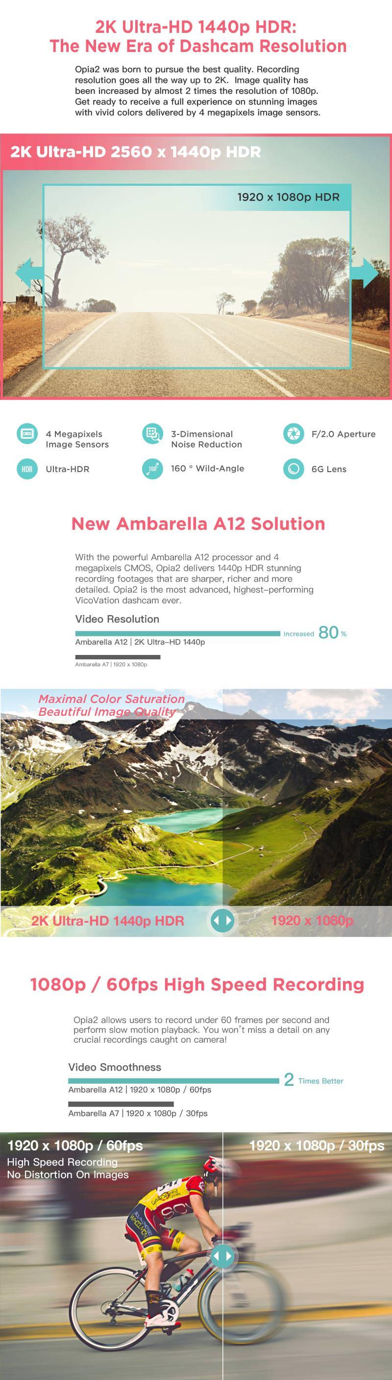 Vicovation Opia 2 Dashcam 1440P Ultra HD